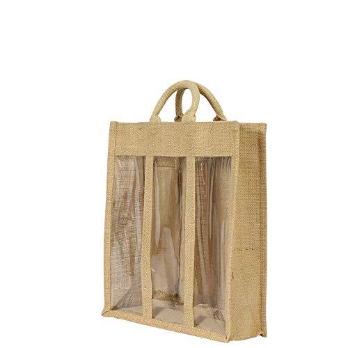 Bolsa de regalo de yute con 3 ventanas, de arpillera, para 3 ...