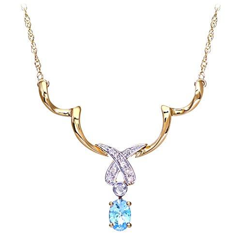 Revoni Bague en or jaune et blanc 9carats-Collier Femme-topaze bleu et diamant