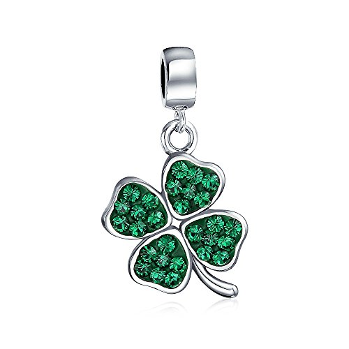 Bling Jewelry 925 Silver Green Crystal Shamrock 4 Leaf Clover Dangle Bead Charm