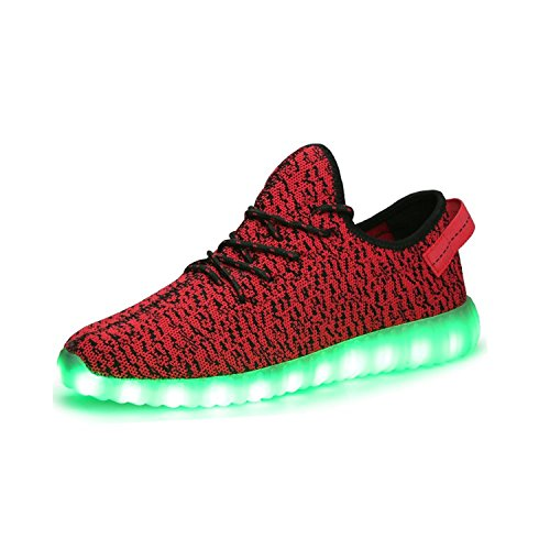 Unisex LED Luminous Knit Sneakers Fashion USB Charging Light Breathable Shoes (Red 35) (Lebron Halloween Shoes)