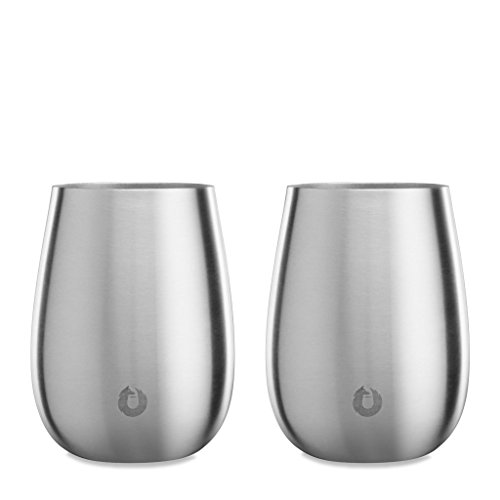 Snowfox Elegance Collection Insulated Stainless Steel Wine Glasses, Pinot Noir, Set of 2