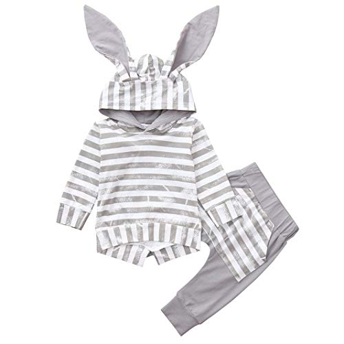 Clearancen Sale! Baby Romper for 0-24Months Boys Girls Iuhan Casual Infant 2pcs Cute Rabbit Ear Blouse Striped Tops with Pant Outfit Set (12Months, Gray)