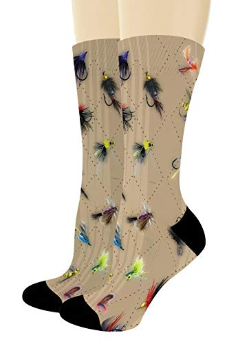 Fishing Gifts for Men and Women Fly Fishing Accessories Fish Print Socks 1-Pair Novelty Crew Socks from ThisWear