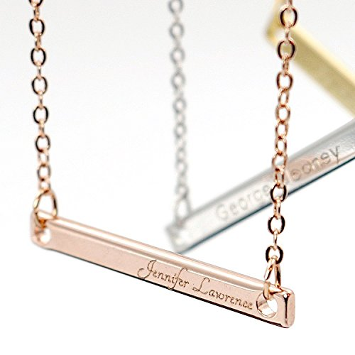 [A Your Name Bar Necklace Engraving 16K Gold Silver Rose Gold -Plated Dainty Computer Diamond Engraving Personalized Delicate Necklace bridesmaid Wedding Graduation Birthday] (Mens Costume Ideas Homemade)