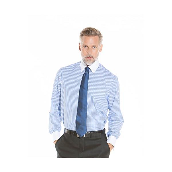 c142455b Savile Row Men's Blue Wide Reverse Stripe Classic Fit Shirt – Double Cuff –  Glam Home Glam U