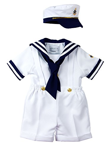 Spring Notion Baby Boys Sailor Set with Hat Style-B Extra Large/18-24M, White -