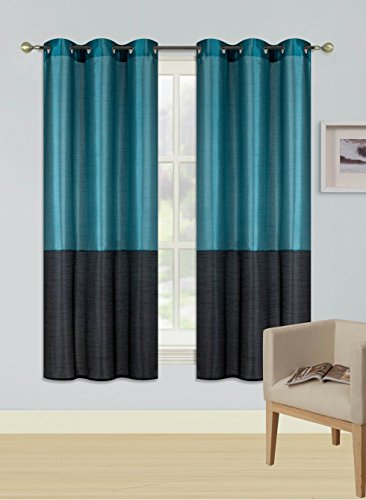 GorgeousHome (HEIDI) 2Pc Silky Silver Grommet Top Window Curtains Panels Drape Treatment 2 Tone New in Many Colors and Sizes (63