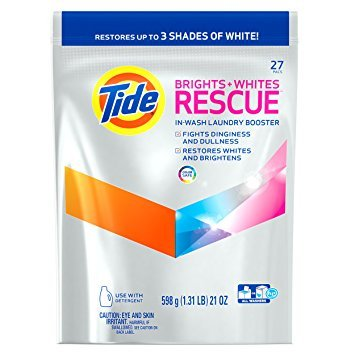 Tide Brights and Whites Rescue Laundry Pacs In-Wash Detergent Booster, 27 Count - Pack of 6 by Tide T