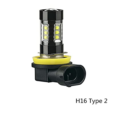 SNGL H16 Type 2 Super Bright CREE LED DRL Fog Light bulbs - Plug-and-Play - 6000K Cool White (Pack of 2): Automotive