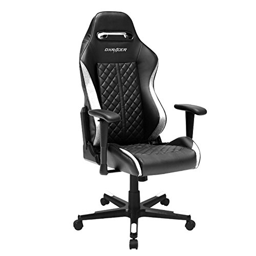 DXRacer Drifting Series DOH/DF73/NW Newedge Edition Racing Bucket Seat Office Chair Gaming Chair Ergonomic Computer Chair eSports Desk Chair Executive Chair Furniture With Pillows (Black/White) - Low Back Swivel Rocker