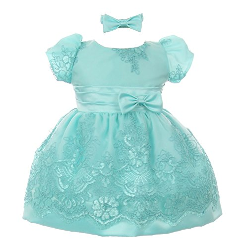 Baby Girls Aqua Floral Lace Overlay Bow Headband Special Occasion Dress (Floral Lace Overlay)