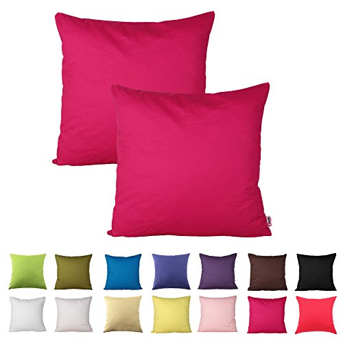 Queenie® - 2 Pcs Solid Color Cotton Decorative Pillowcase Cushion Cover for Sofa Throw Pillow Case Available in 14 Colors & 5 Sizes (20 X 20 Inch (50 X 50 Cm), Hot Pink)