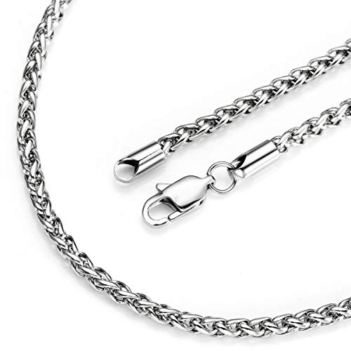 Platinum Chain Solid Wheat - Bacsn 20 Inch Mens Silver Chain Necklace 4 mm Stainless Steel Basket Weave Chain for Women