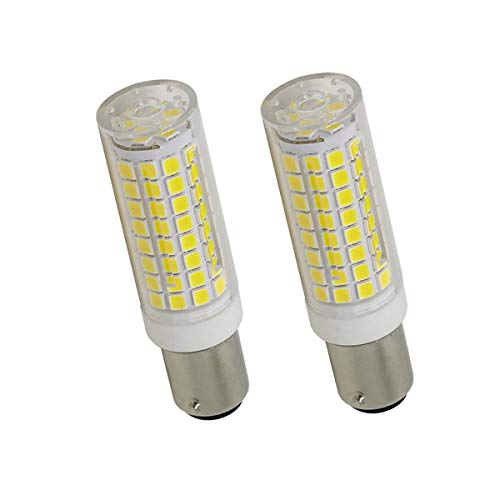 Ba15d LED Bulb, Dimmable 7W Ba15d LED Light Bulb, All-New 102×2835SMD LED Ba15d Double Contact Bayonet Base Bulb, 75W Halogen Replacement, 120V 750lm White 6000K (2 Pack) ()