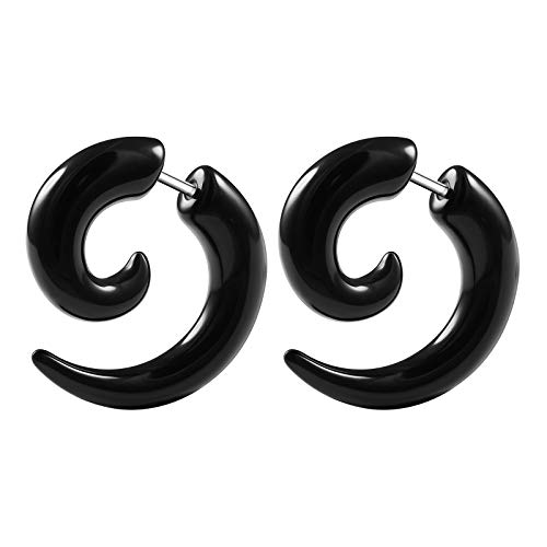 teel 16g Gauge 1.2mm Size 6mm Black Acrylic Taper Shaped Sprial Piercing Illusion Fake Ear Plug Cheater BG1761 ()
