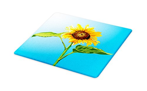 Lunarable Sunflower Cutting Board, Flower of the Sun Harvest Yield Summer Season Flora Vegetable Digital, Decorative Tempered Glass Cutting and Serving Board, Small Size, Marigold Blue Green ()