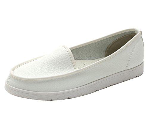 Flâneur Bout Rond Femme Chaussures enfiler dqq Blanc à plates xTqwXX
