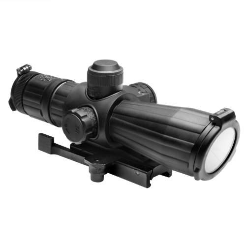 NcStar 4X32 Rubber Compact with Red Laser/Blue Illuminated/P4 Sniper/Green Lens/Quick Release (SRTP432G)