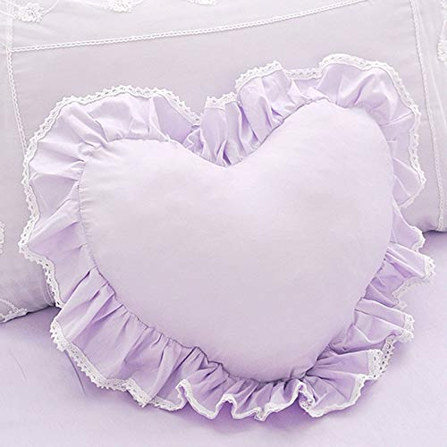 Dunnomart 100% Cotton French Pink Heart Shape Princess lace Ruffled Pillow Girl s Home Bedroom seat Sofa Bed Cushion ()