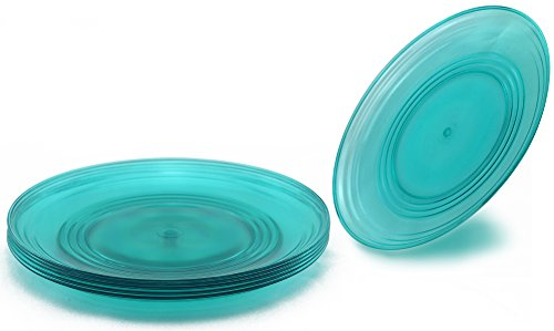 Amazon.com | FLEXLINE 8  Kids Plates - Reusable Break-Resistant Plastic Children Snack Dishes - Set of 4 - Teal Blue Color Dinner Plates  sc 1 st  Amazon.com & Amazon.com | FLEXLINE 8