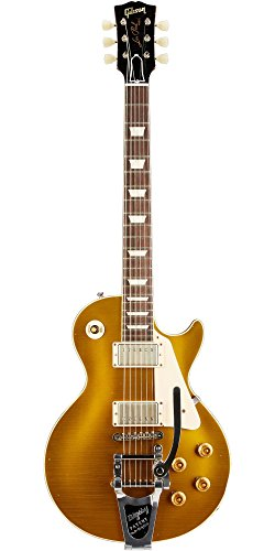 Gibson Custom 1957 Les Paul Reissue Lightly Aged Electric Guitar with Bigsby Antique Gold (Custom Electric Guitar Antique)