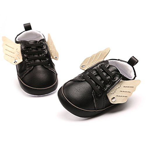 Baby Sneakers - Infant Boys Girls Non-Slip Soft Soled Toddler First Walkers Angel Wing Crib Shoes(C-Black,0-6Month)