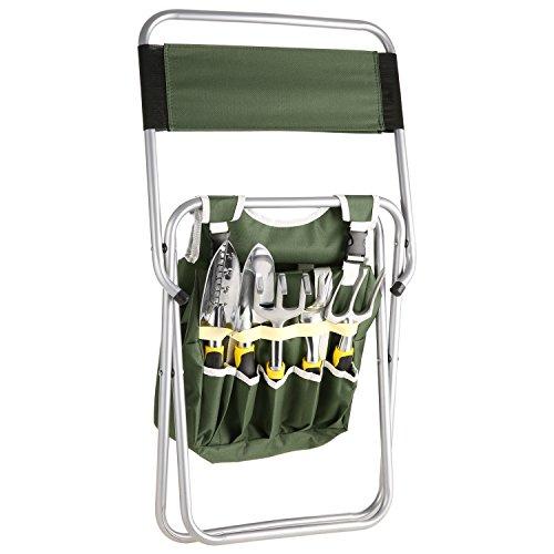 Bluefringe Garden Tool Set- 10 Piece Aluminum Hand Tool Kit, with Garden Folding Stool Seat,All-In-One Tool Bag,Outdoor Tool,Heavy Duty Gardening Work Set with Ergonomic Handle