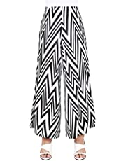 The Boutique Shop Women's Daily Wide Leg Elastic Waist Geometric Cotton Blend Non Stick Skirt Pants/Made in Korea Black and White