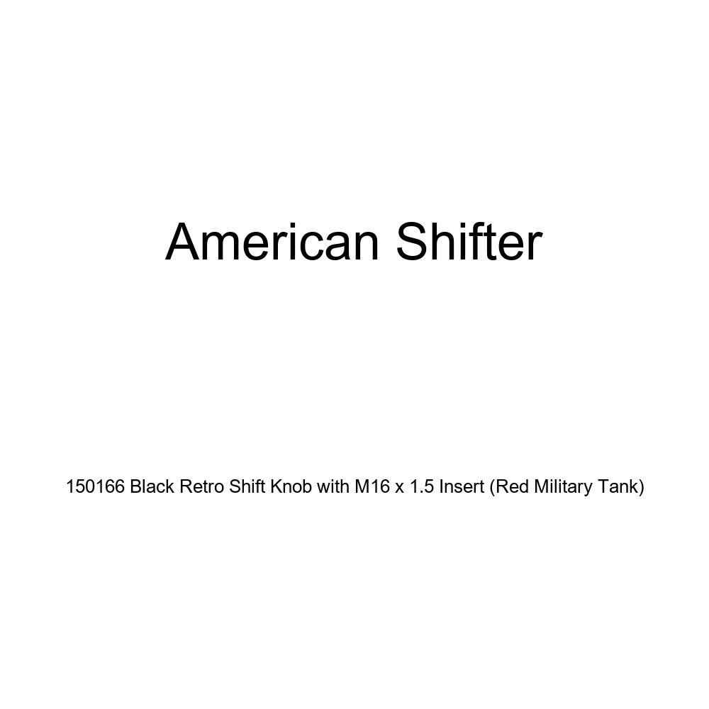 American Shifter 150166 Black Retro Shift Knob with M16 x 1.5 Insert Red Military Tank