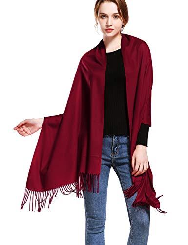 Feoya Women's Cashmere Feel Winter Shawl Blanket Scarves Cozy Solid Shawl Wrap