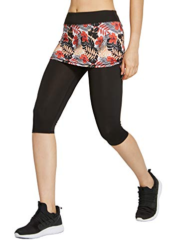 (slimour Women Skirted Leggings Tennis Pants with Pockets Capri Leggings with Skirt Workout Print R)