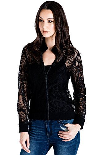 Standards & Practices Women's Peek-A-Boo Black Lace Bomber Jacket Size L