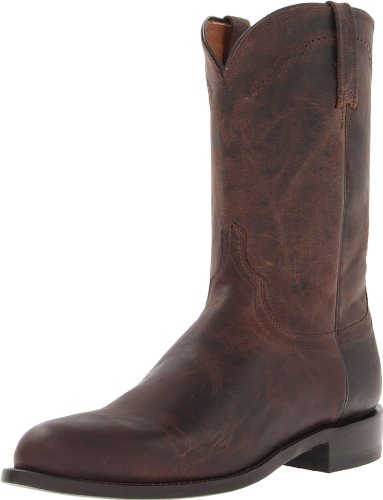 Image of Lucchese Bootmaker Men's Shane-Chocolate Madras Goat Roper Riding Boot, 10 2E US