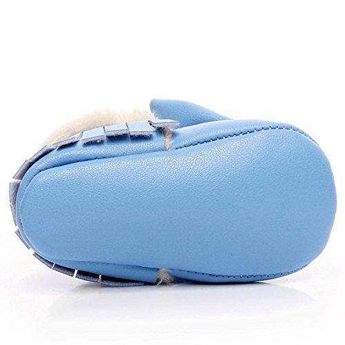Huhu833 Neugeborene Lovely Kleinkind Schuhe Bowknot Weiche Sohle Schneeschuhe Weiche Krippe Baumwolle Schuhe Kleinkind Stiefel (0~18Month) Blau