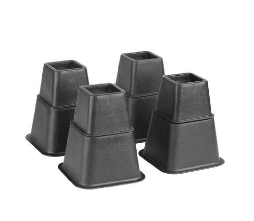 Kennedy Home Collections Adjustable Black Bed Risers - 8 Inch