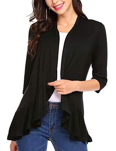 Zeagoo Women's Open Front 3/4 Sleeve Draped Ruffles Knit Cardigan X-Large
