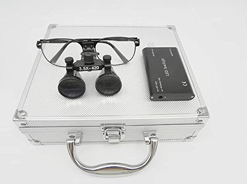 Metal Frame 3.5x 420mm Binocular Surgical Medical Loupe DY-104+ 3W LED Headlight with Aluminum Box Silver by NSKI