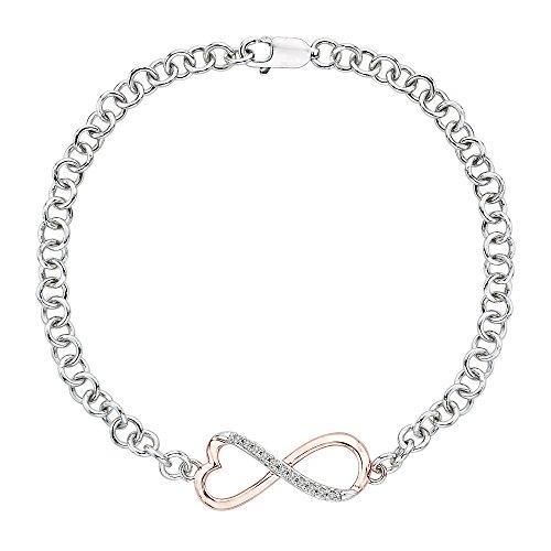 (KATARINA Infinity Diamond Tennis Heart Bracelet in Two Tone Sterling Silver (1/20)