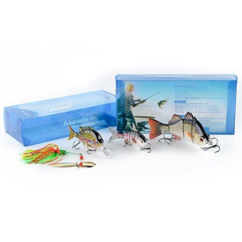 Apusale Fishing Bass Lure Multi Jointed Life-like Swimbait Hard CrankBaits Trout Swimbait(3.9-5.5inch).