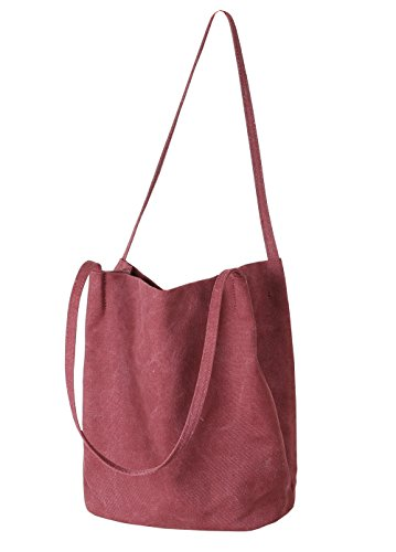 Hobo Bucket Bag Wine Canvas Tote Shoulder Casual Iswee Handbags Women Bag for Wr7xR7wT