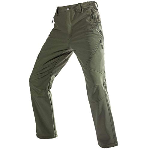 FREE SOLDIER Men's Fleece Lined Outdoor Cargo Hiking Pants Water Repellent Softshell Snow Ski Pants with Zipper Pockets (Army Green 34W x 30L)