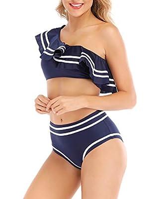 Women 2 Piece Vintage Navy Flounce One Shoulder Crop Top with High Waist Bottom Bikini Set Swimwear Swimsuit