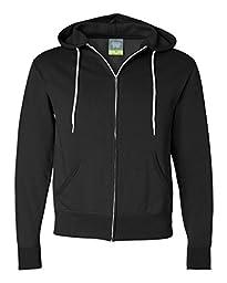 Independent Trading Co. Unisex Full Zip Hooded Sweatshirt, Black, Medium
