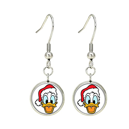 Donald Duck Disney Dangle Earrings TV Micky Mouse Club House Comics Movies Cartoons Superhero Logo Theme Premium Quality Detailed Cosplay Jewelry Gift Series (Dangle Duck Donald)