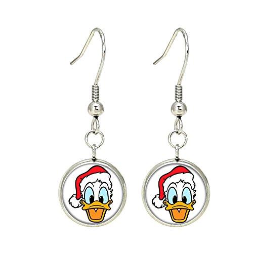 Donald Duck Disney Dangle Earrings TV Micky Mouse Club House Comics Movies Cartoons Superhero Logo Theme Premium Quality Detailed Cosplay Jewelry Gift Series (Donald Dangle Duck)