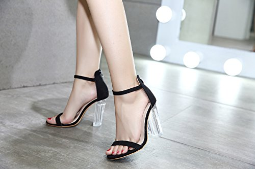 Heel Summer Sandals Chunky for Women's Size Evening Shoes B Heel Transparent Club Party Black Color Gladiator Fall amp; Suede Shoes 39 0BzBvEx