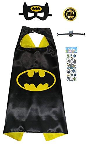 Special 4 Piece Set with Cape, Mask, Superhero Stickers & Bracelet (Batman Masks)