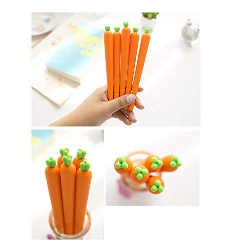 12 Pack Carrot Silicone Body GEL Ink Pen KAWAII Office School Supply Easter gift ()