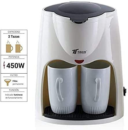 Cafetera de Goteo Que Incluye Dos Tazas de Porcelana de 0.24L de Capacidad Cada una. Cuenta con una Potencia de 450W e indicador Luminoso de Funcionamiento.THULOS TH-CM02 (Blanco/Gris): Amazon.es: Hogar
