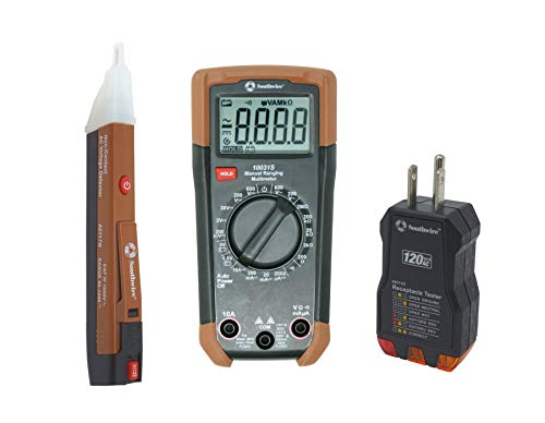 Southwire 10037K Tools & Equipment Electrical Test Kit, Includes 600V Manual-Ranging Multimeter, 120V AC Receptacle Tester and 90-1000V Non-Contact Voltage Tester, Brown ()
